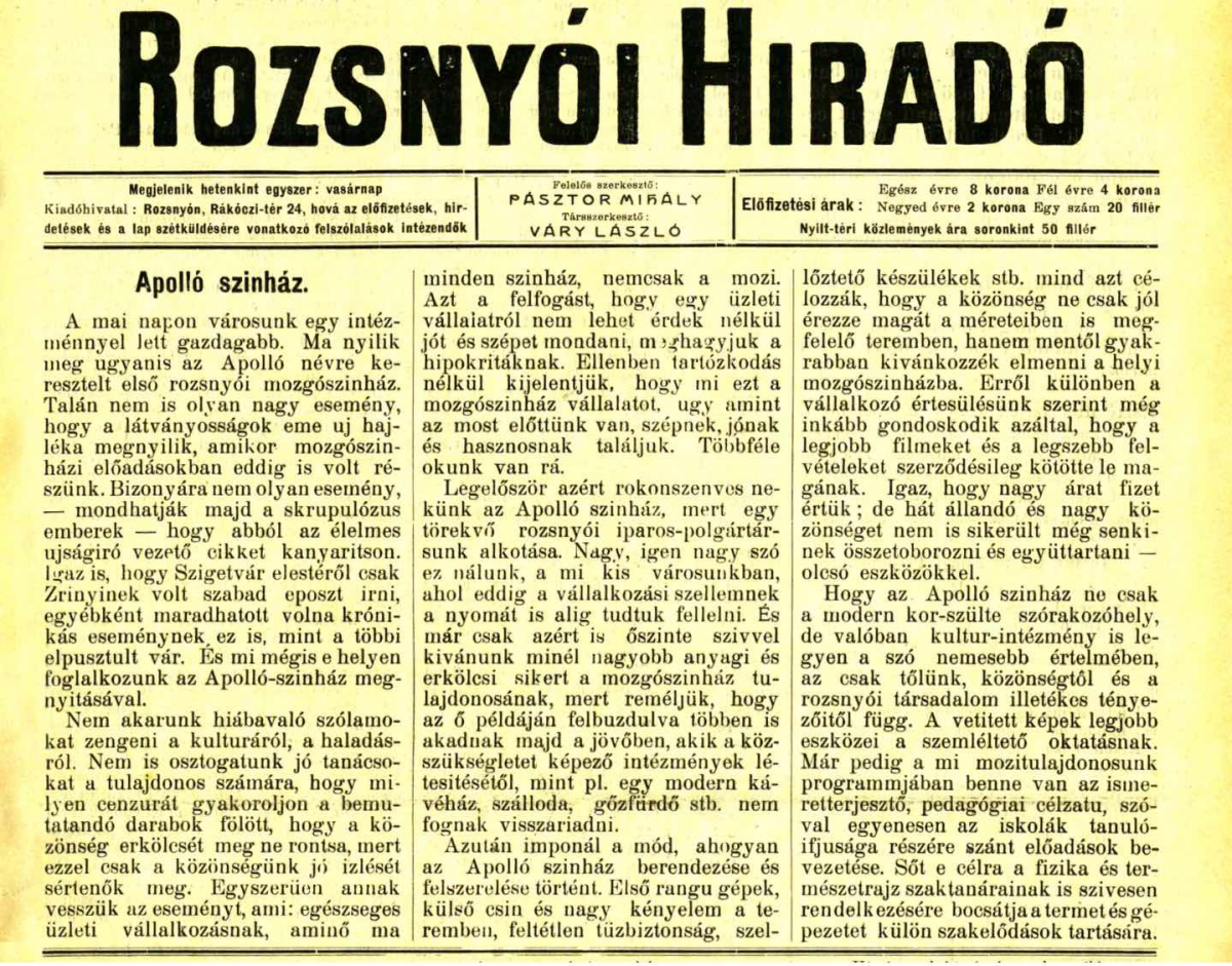 73e1a68ab Úryvok z novín Sajóvidék z 9.7.1914 (náhľad originálu)