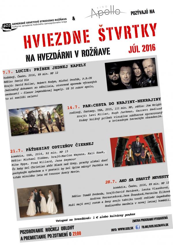 Program letného kina - júl 2016